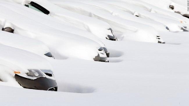 Xe ôtô ở Norwood, Massachusetts ngập chìm trong bão tuyết