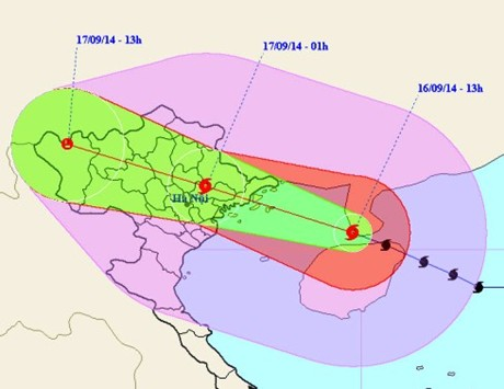 Tối nay (16/9) vùng tâm bão sẽ đi vào đất liền các tỉnh phía Đông Bắc Bộ