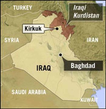 Vị trí thành phố Kirkuk