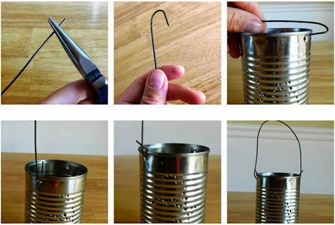 Bước 4: Làm lồng quai cho đèn: Lấy 1 đoạn dây thép buộc qua 2 lỗ đối xứng đã đục ở bước 1 để làm dây treo đèn