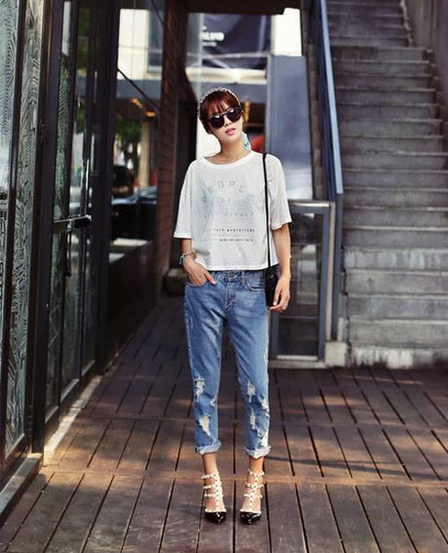 Bạn gái có thể mặc đẹp với quần jeans boyfriend thật năng động và cá tính