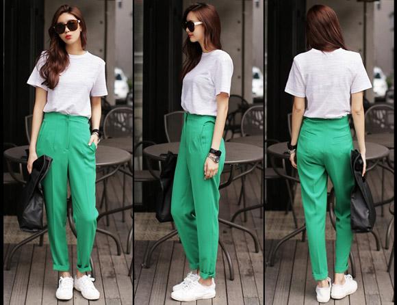 Hai chất liệu dễ mặc và cũng dễ đẹp nhất đối với hai kiểu quần này chính là denim và kaki.