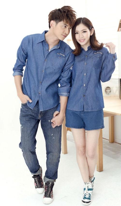Áo đôi denim cũng là một gợi ý để các cặp đôi mặc đẹp mỗi ngày