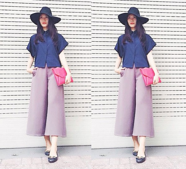Quần culottes màu pastel phối cùng giày búp bê nữ tính và sành điệu