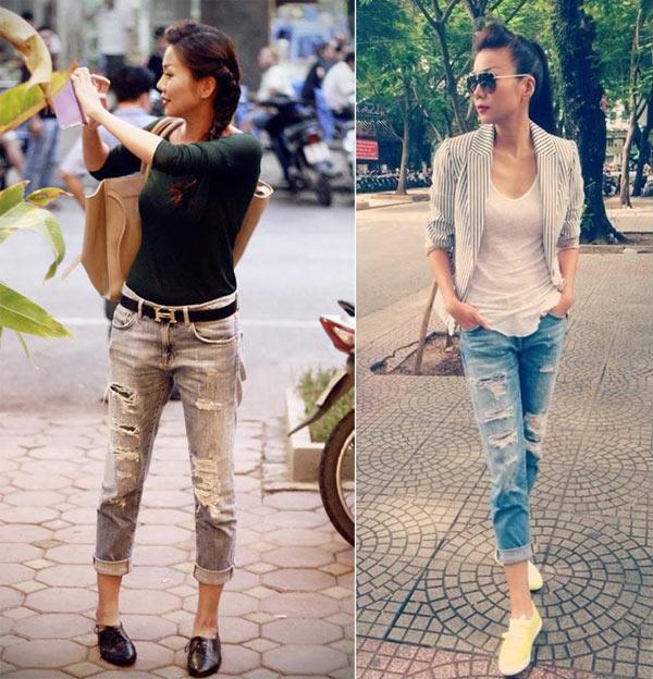 Thanh Hằng cũng nhiệt tình 'lăng xê' mốt quần jeans rách này