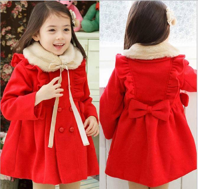 Xu hướng quần áo mùa đông 2014 cho bé nổi bật với áo khoác dạ cổ lông