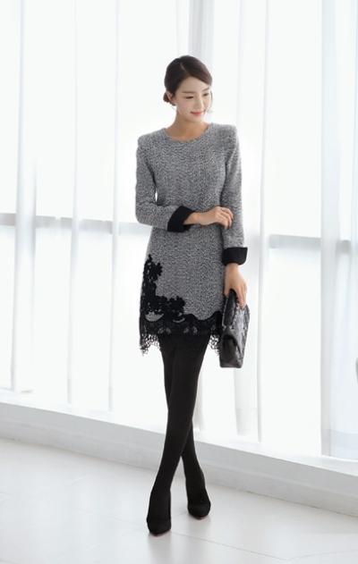 Quần áo mùa đông 2014 cho các cô nàng công sở nổi bật với váy liền dáng suông