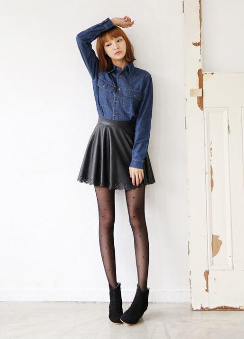 Chân váy da nổi bật trong xu hướng quần áo mùa đông 2014