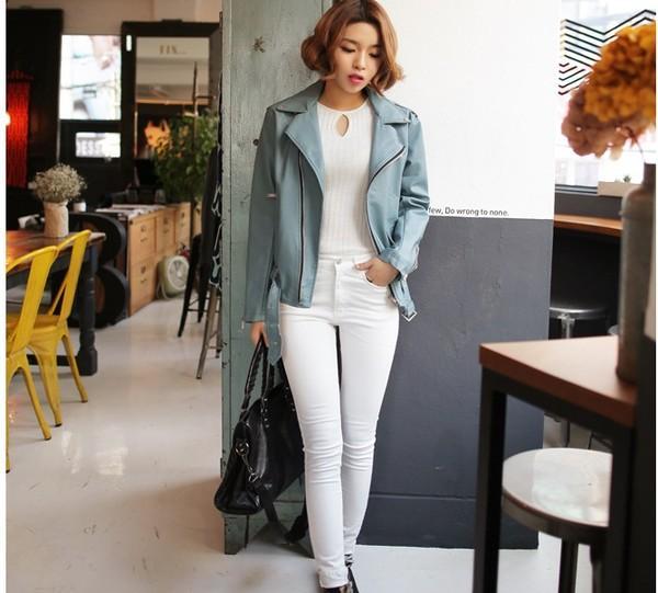 Áo da màu sáng là một xu hướng quần áo mùa đông 2014 nổi bật