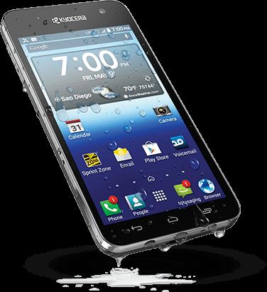 Kyocera là mẫu smartphone giá rẻ có khả năng chống nước đạt chứng nhận IP57