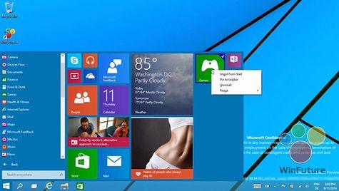 Hình ảnh được cho là ảnh chụp màn hình của windows 9
