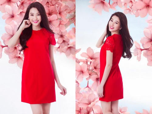 Thời trang Tết 2015 là váy đỏ dáng suông thật trẻ trung và tươi tắn