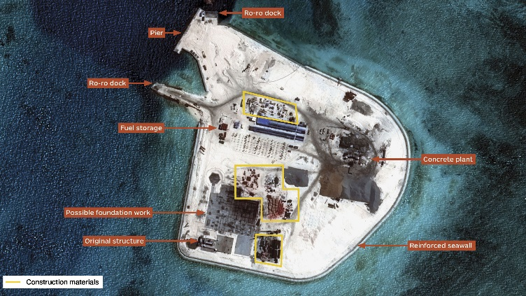 tình hình Biển Đông ngày 21/9: Trung Quốc đã mở rộng Gạc Ma tới 100.000 m2
