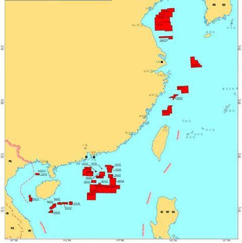 Bản đồ các lô dầu khí mà CNOOC gọi thầu quốc tế khai thác ở Biển Đông