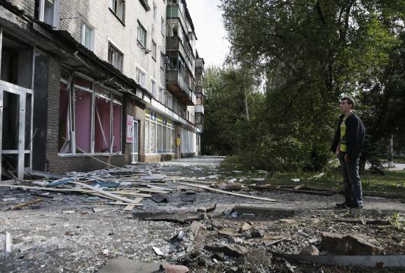 Hiện trường Donetsk hỗn loạn sau khi bị quân ly khai Ukraina pháo kích hồi tháng 8