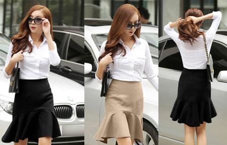Chân váy đuôi cá phối cùng áo sơ mi đơn giản mà rất thanh lịch và cuốn hút