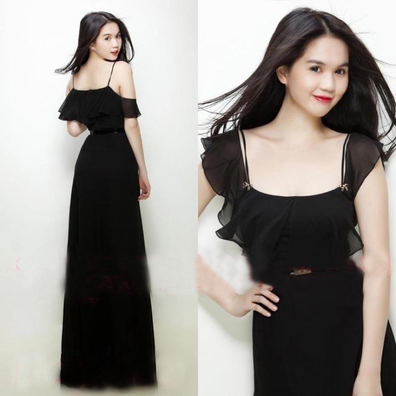 Bạn gái có thể diện váy maxi voan đen để khoe làn da trắng ngần như Ngọc Trinh