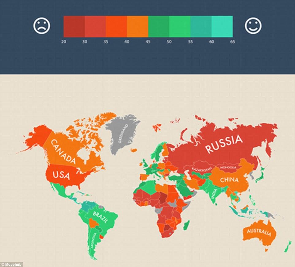 Bản đồ chỉ số đất nước hạnh phúc nhất thế giới (màu càng xanh là hạnh phúc nhất) Việt Nam xếp đầu bảng châu Á và thứ nhì thế giới