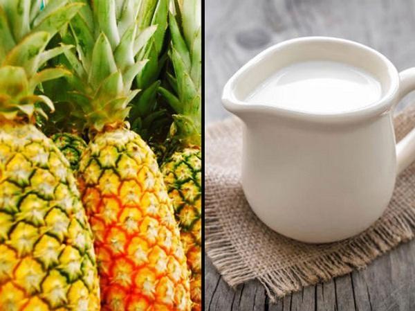 Sữa và dứa nếu dùng chung có thể gây buồn nôn, đau đầu