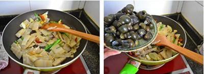 Cho măng vào xào trước, rồi đến ốc, thêm nước và om trong khoảng 30 phút