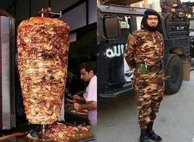 Hình ảnh ghép Abu Wahib và cây thịt nướng