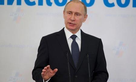 Tổng thống Nga Putin phát biểu tại diễn đàn doanh nghiệp ở Moscow hôm 19/3