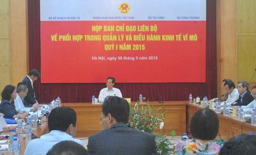 Chiều 30/3, Thủ tướng Nguyễn Tấn Dũng chủ trì cuộc họp Ban Chỉ đạo liên Bộ về phối hợp trong quản lý, điều hành kinh tế vĩ mô quý I/2015