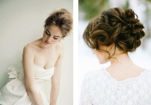 Tóc cô dâu búi rối phù hợp với những cô nàng tóc dài hoặc tóc ngang vai