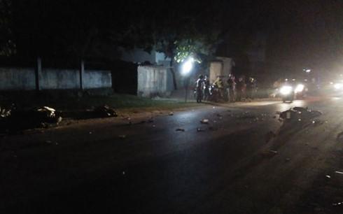 Hiện trường vụ tai nạn khiến 1 người chết, 3 người thương nặng. Ảnh: an ninh Thủ đô