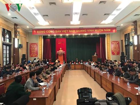 Toàn cảnh cuộc họp đối thoại với các doanh nghiệp vận tải tại Sở GTVT Hà Nội 14h chiều 1/3. Ảnh: VOV