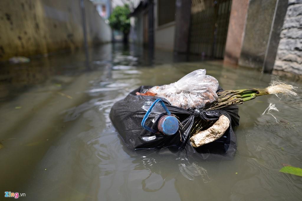 Dọc khu vực ngập, nhiều túi rác trôi lềnh phềnh. Xung quanh muỗi và côn trùng bay tứ tung. Ảnh: Zing.vn