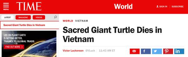 Tạp chí Time của Mỹ đưa tin về việc cụ rùa Hồ Gươm chết vào chiều tối ngày 19/1