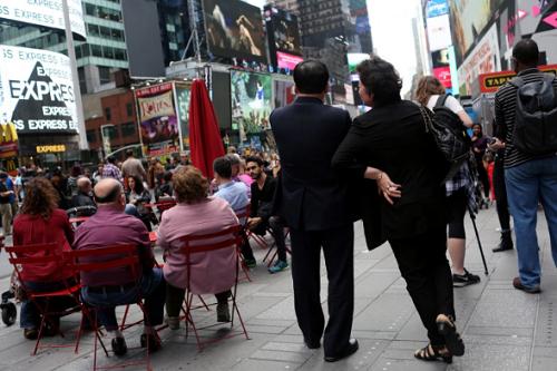 Vợ chồng dì ruột Kim Jong-un tại New York. Ảnh: AP