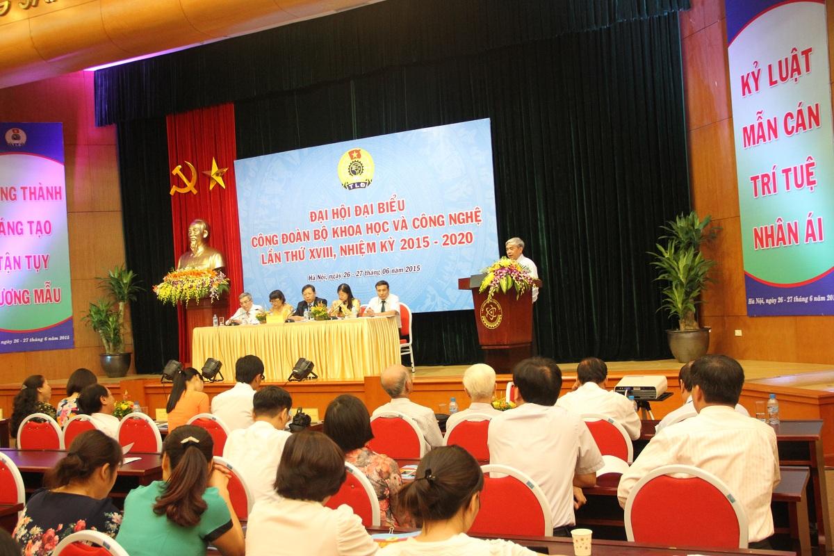 Quang cảnh Đại hội Đại biểu Công đoàn Bộ KH&CN nhiệm kỳ 18