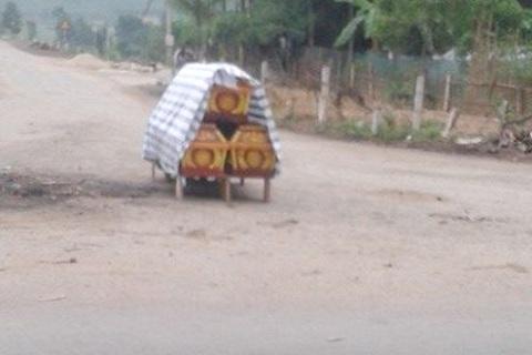 3 chiếc quan tài do người dân xã Yên Hợp, Quỳ Hợp, Nghệ An dựng giữa đường để phản đối việc thu hồi đất