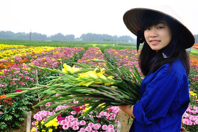 Làng hoa lay ơn chắc chắn là một địa điểm chụp ảnh Tết Âm lịch vô cùng thích hợp