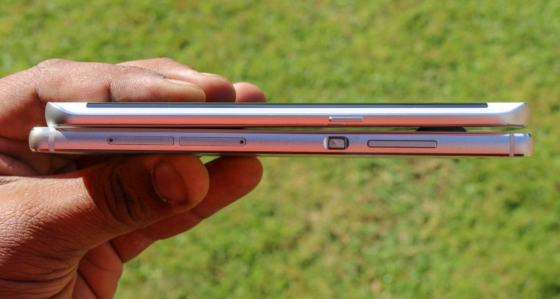 Độ dày của 2 smartphone S6 Edge và Huawei P8