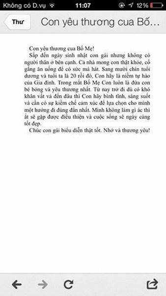 Tin nhắn chúc mừng sinh nhật con gái của Bố Hương Tràm.