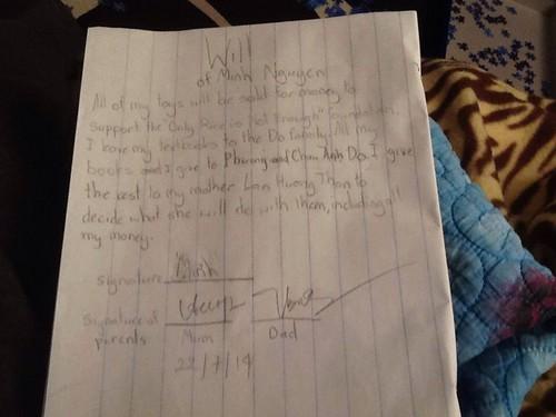 Di chúc của M.N được em viết bằng tiếng Anh