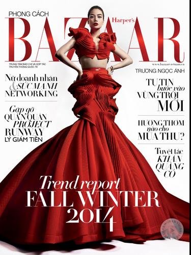 Trương Ngọc Ánh và bộ sưu tập của Lý Giám Tiền trên trang bìa của tạp chí thời trang Harper's Bazaar Việt Nam
