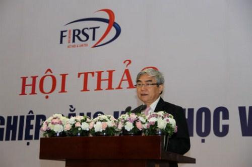 TS Nguyễn Quân - Bộ trưởng Bộ KH&CN phát biểu tại buổi hội thảo.