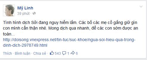 Trên trang Facebook cá nhân của mình,ca sĩ Mỹ Linh đã chia sẻ dòng tâm trạng đầy lo lắng
