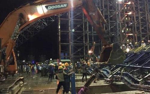 Hiện trường vụ tại nạn tại công trường Formosa Kỳ Anh, Hà Tĩnh