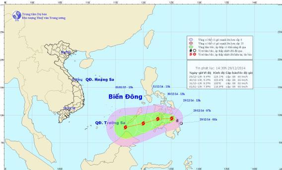 Dự báo thời tiết ngày mai, ảnh đường đi và vị trí của bão Jangmi