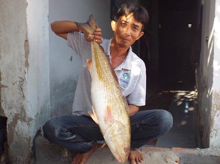 Ngư dân Lỡ Thế Vinh cùng con cá lạ nghi cá Sủ vàng quý hiếm mà ông vừa bắt được