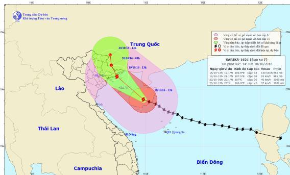 Tin bão số 7: Diễn biến mới nhất của bão số 7 Sarika