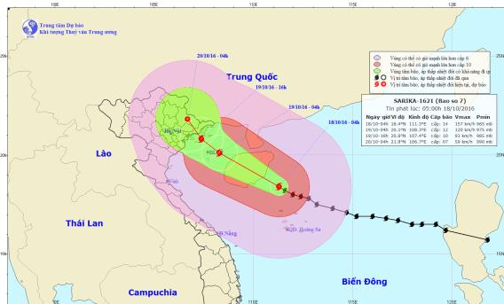 Vị trí và hướng đi của bão số 7 Sarika. Ảnh: TTKTTVTW