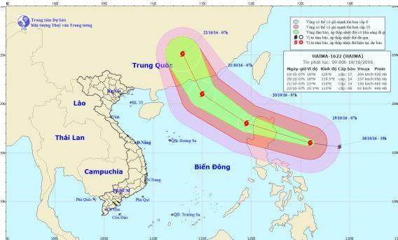 Vị trí và hướng đi của bão Hải Mã. Ảnh: TTKTTVTW