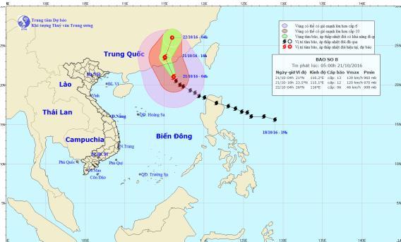 Vị trí và hướng đi của bão số 8. Ảnh: TTKTTVTW