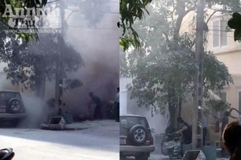 Hiện trường vụ nổ trạm biến áp ở Hà Đông. Ảnh: an ninh thủ đô